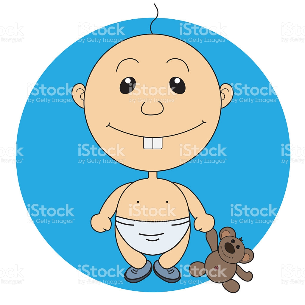 Illustration Of The Animation Pretty Boy With A Bear Toy stock.