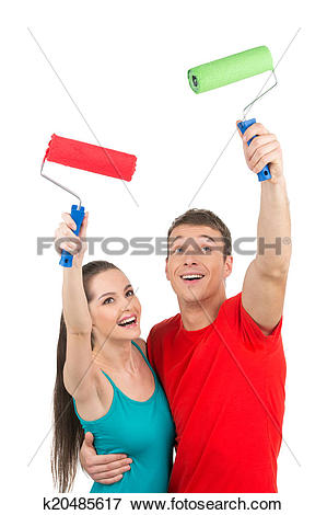 Picture of pretty boy and girl using paint roller. man hugging.