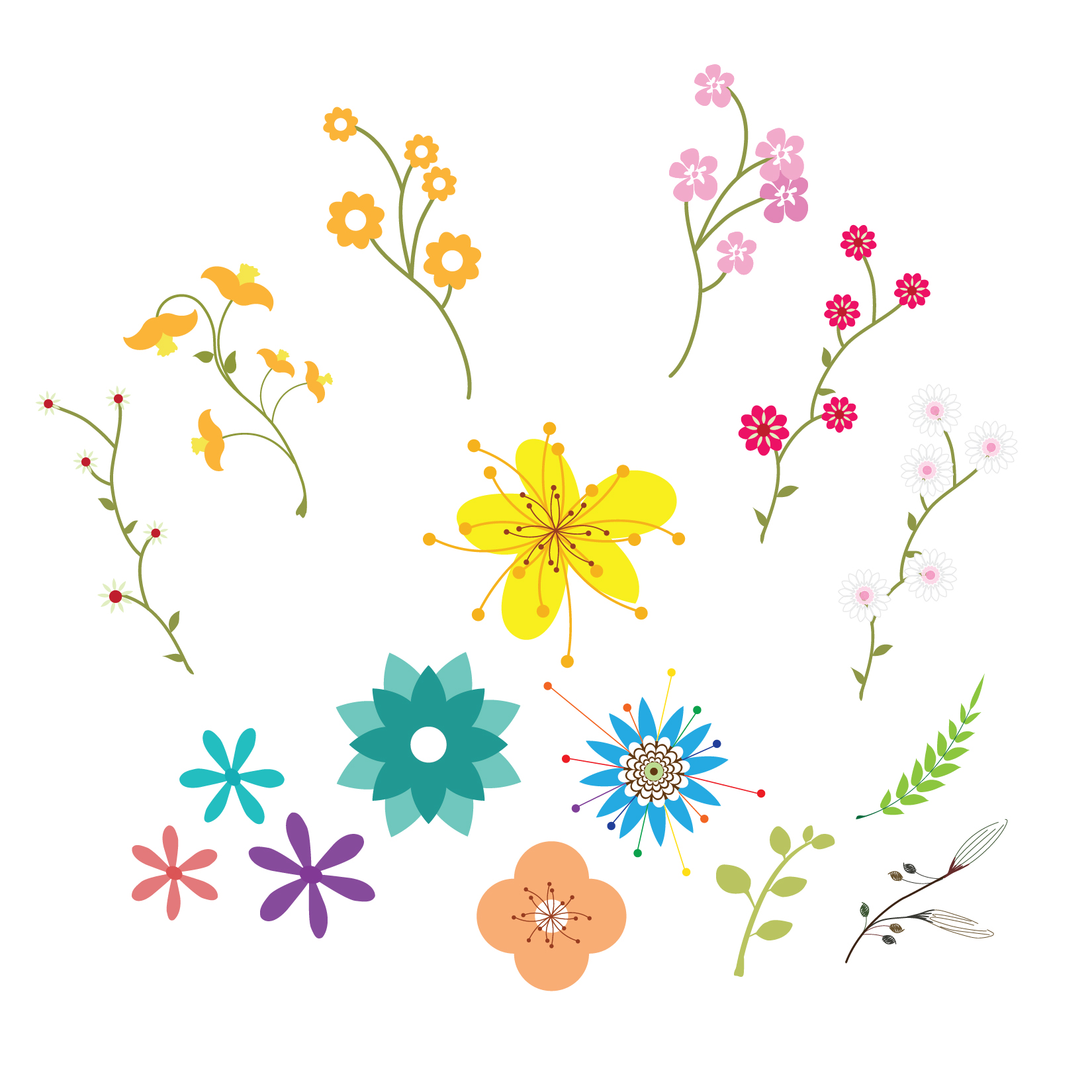 Pretty Flowers Set Semi Exclusive Clip Art Set For.