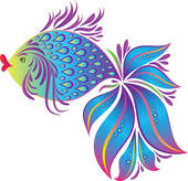 Clip Art of blue fish k9410127.