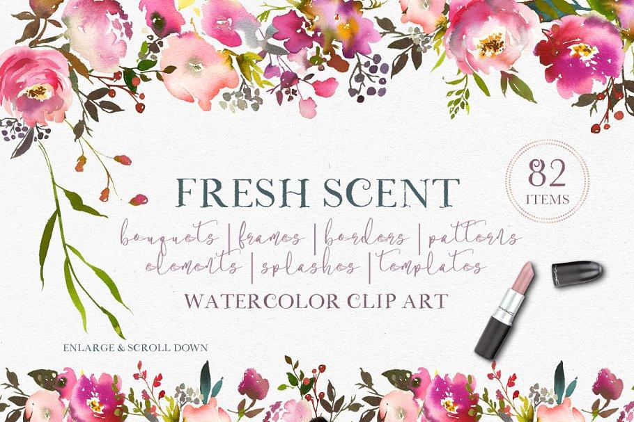 Fresh Scent Pretty Floral Clipart ~ Illustrations ~ Creative.