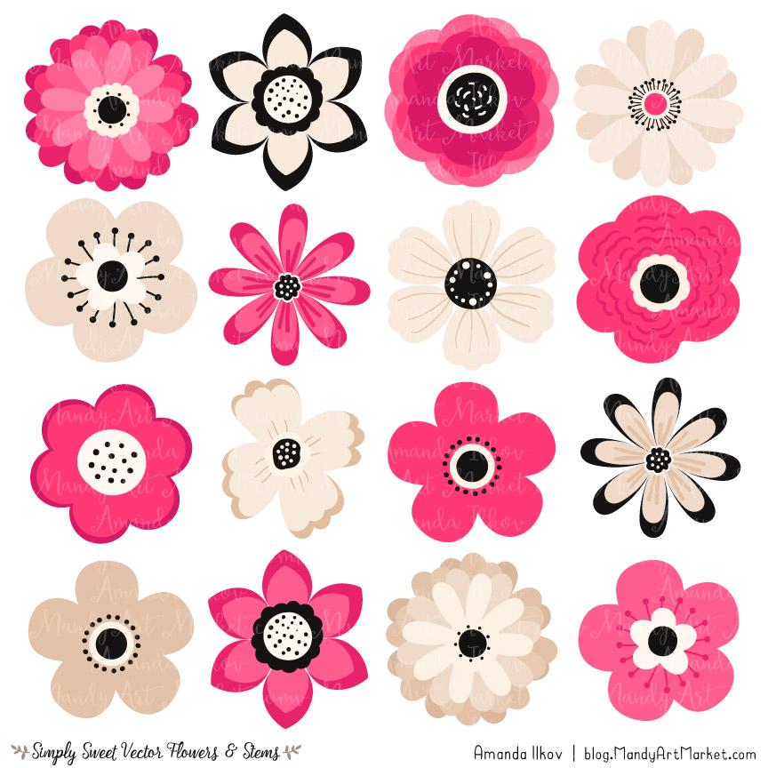Hot Pink Flower Clipart & Vectors.