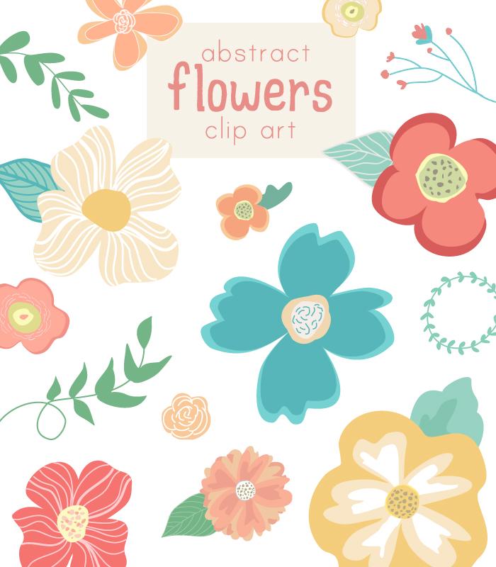 Abstract Cute Flower Vector Clip Art.