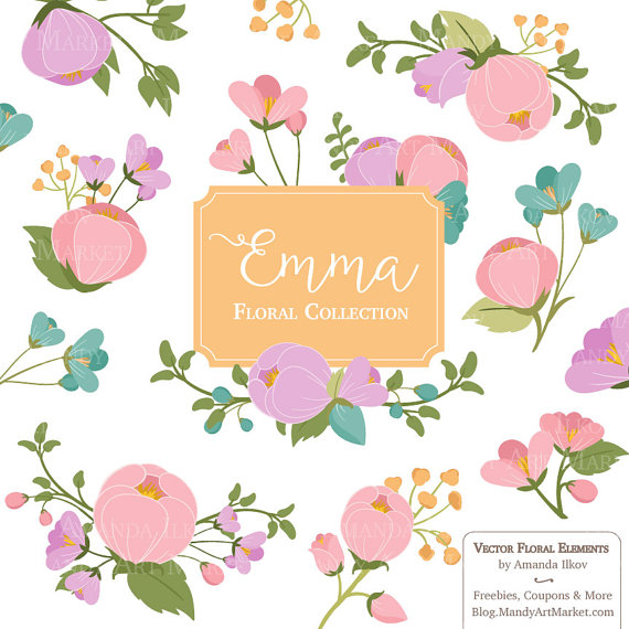 Emma Floral Bunches Clipart & Vectors spring flowers pretty.