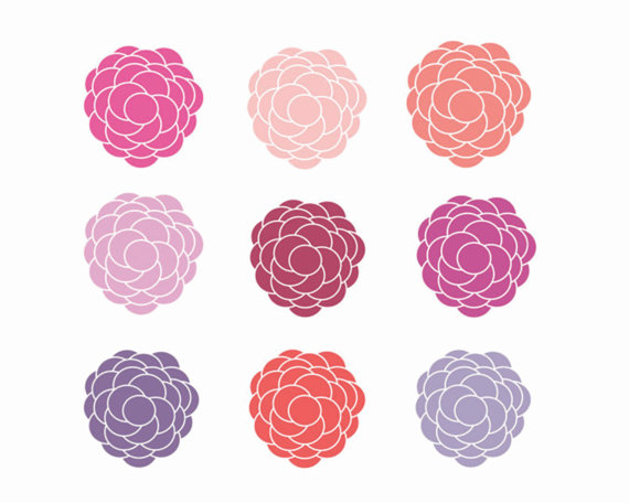 60% OFF SALE Pretty Flower Clipart digital Download Images.