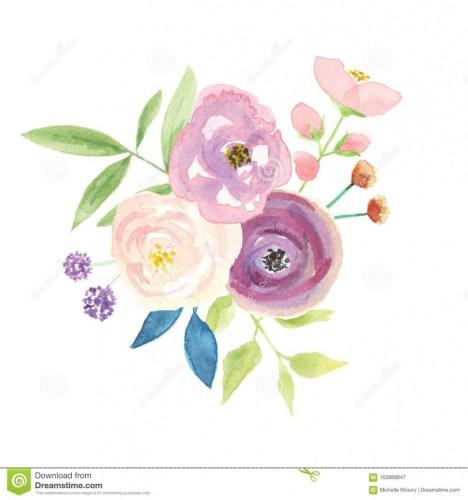 Watercolour Berries Bouquet Arrangement Pretty Pink Wedding.