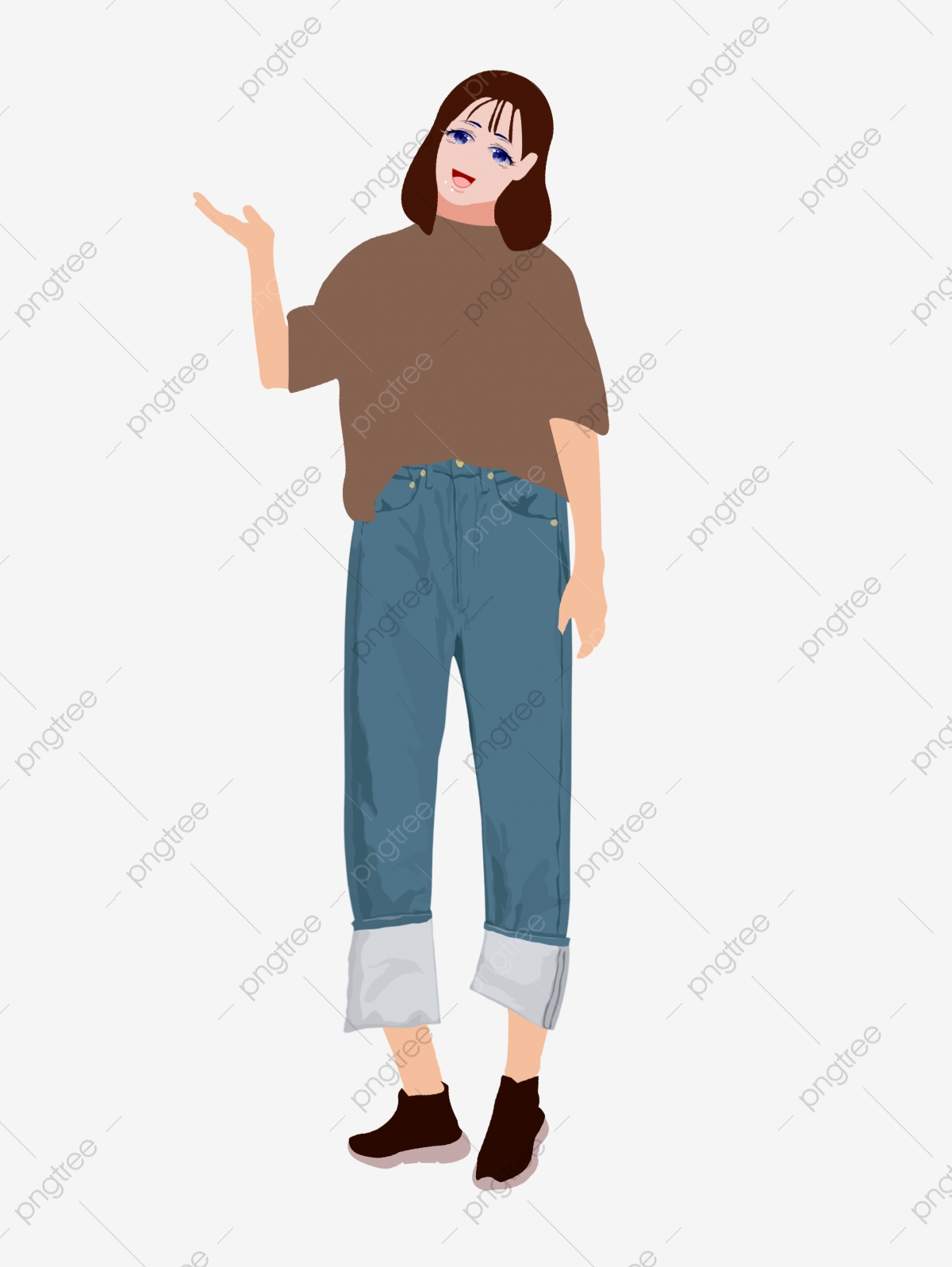 Miss Sister Pretty Girl Beauty, Jeans, T Shirt, Simple PNG.