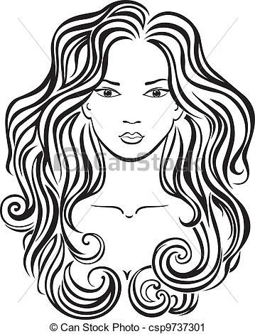Vector Clip Art of Beautiful girl's face.