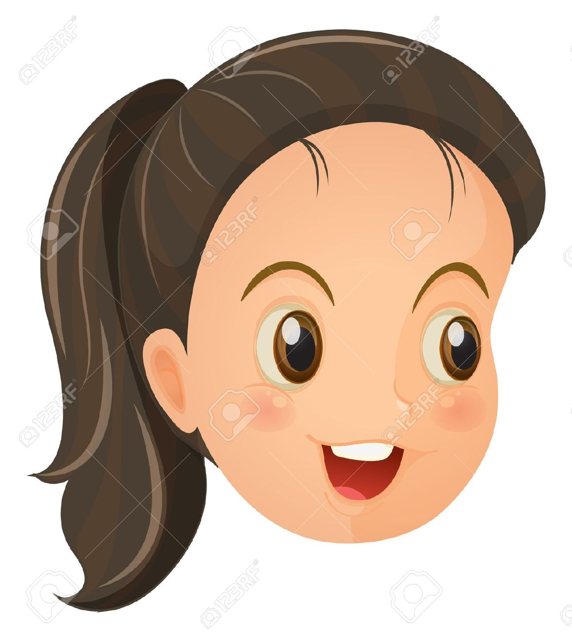 Illustration Of A Face Of A Cute Little Girl On A White Backround.