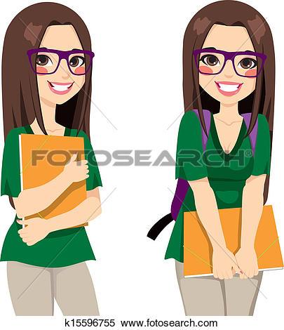 female college student clipart #20