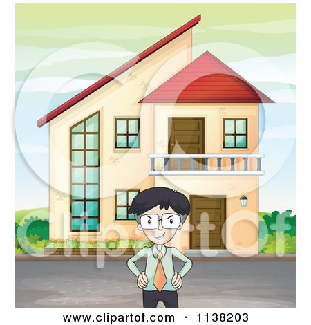 Cartoon of a Pretty Woman Gesturing to Houses in a Neighborhood.