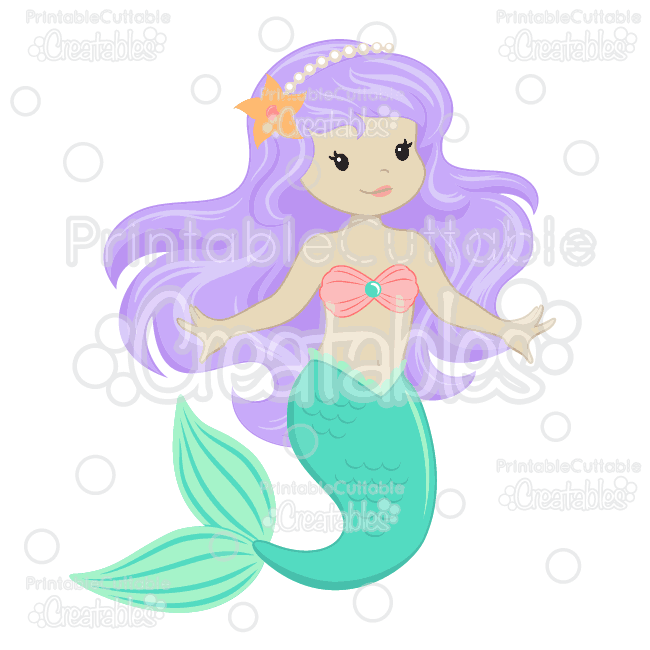 Cute Mermaid SVG Cut Files & Clipart.