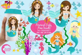 Mermaid clipart,Pretty Mermaids Clipart AMB.