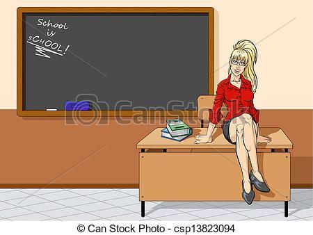 EPS Vectors of Pretty teacher sitting on desk.