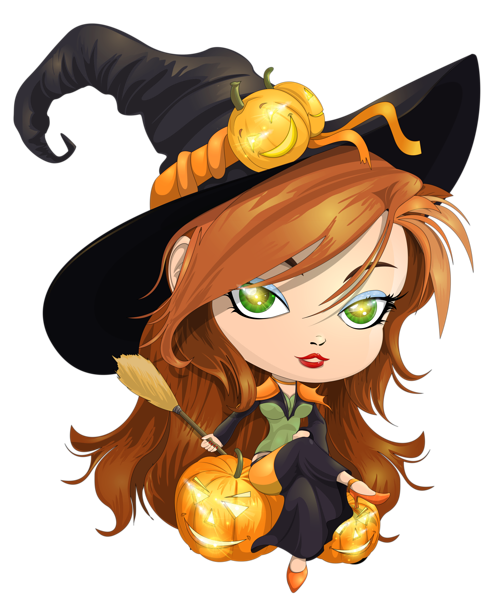 Cute Witch Transparent Clipart Picture.
