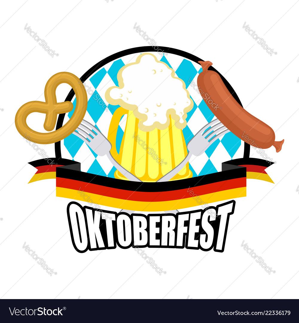 Oktoberfest logo beer sausage and pretzel sign.