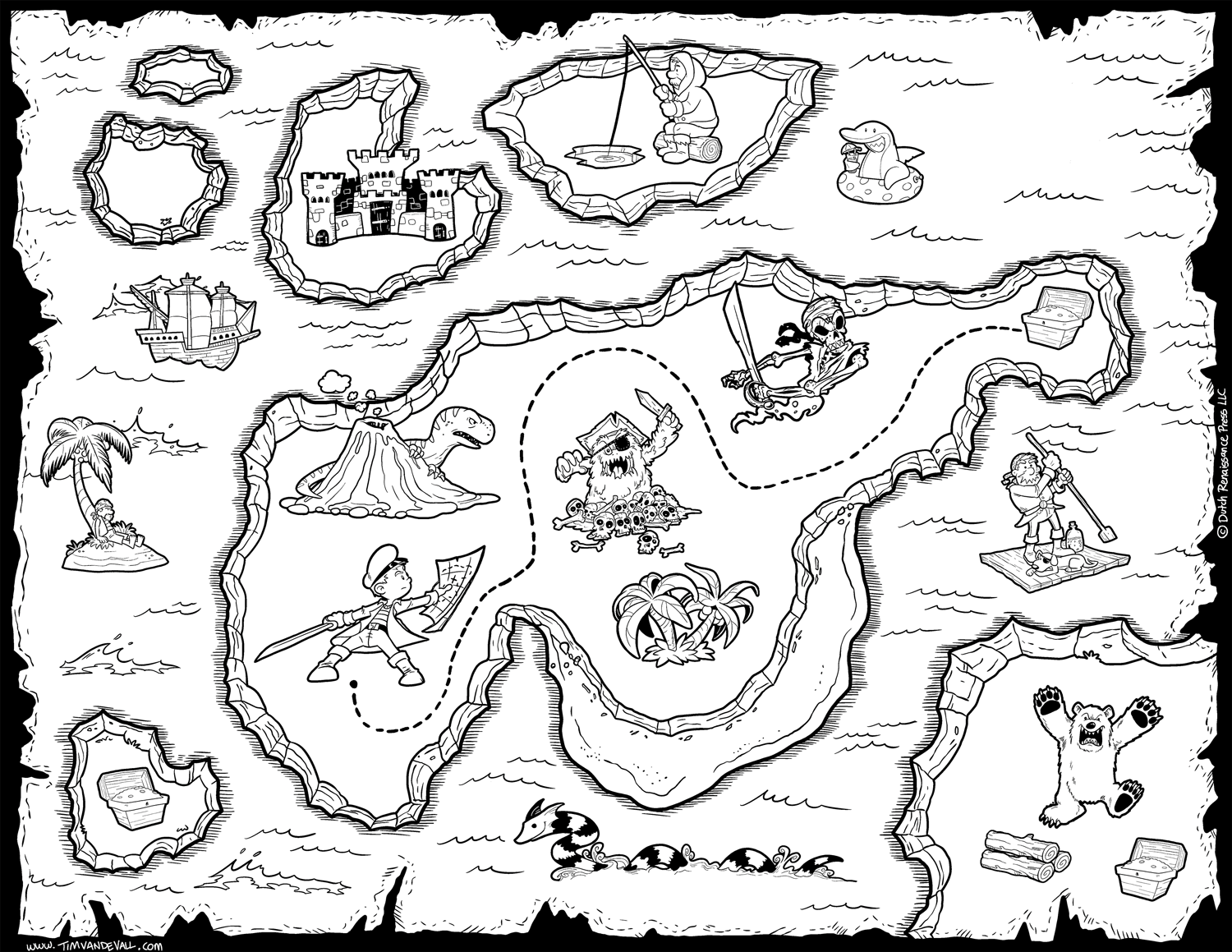 Treasure Map Clipart Black And White Pirate Maps Coloring Pages.