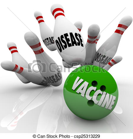 Clip Art of Vaccinate Bowling Ball Prevent Stop Disease Immunize.