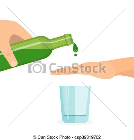 Vector Clipart of Alcohol abuse concept. Hand prevents filling the.