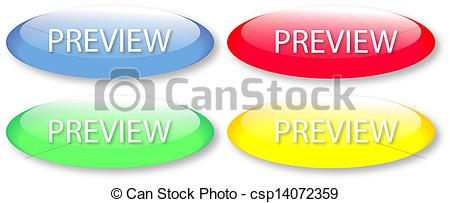 Clipart Vector of Glassy preview buttons isolated on white.