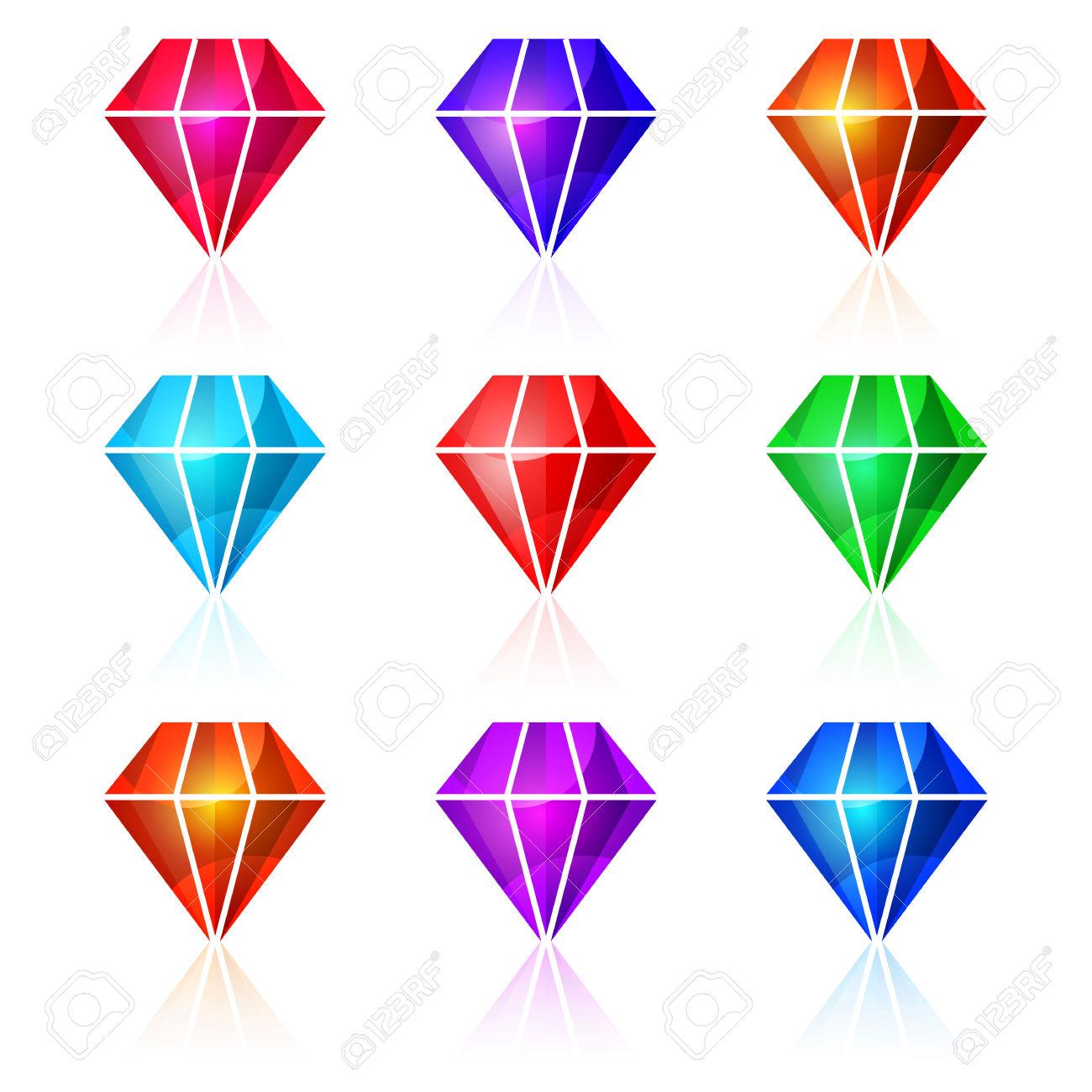 Shiny Diamanti Colorati Illustrazione Vettoriale. Icone Isolato Su.