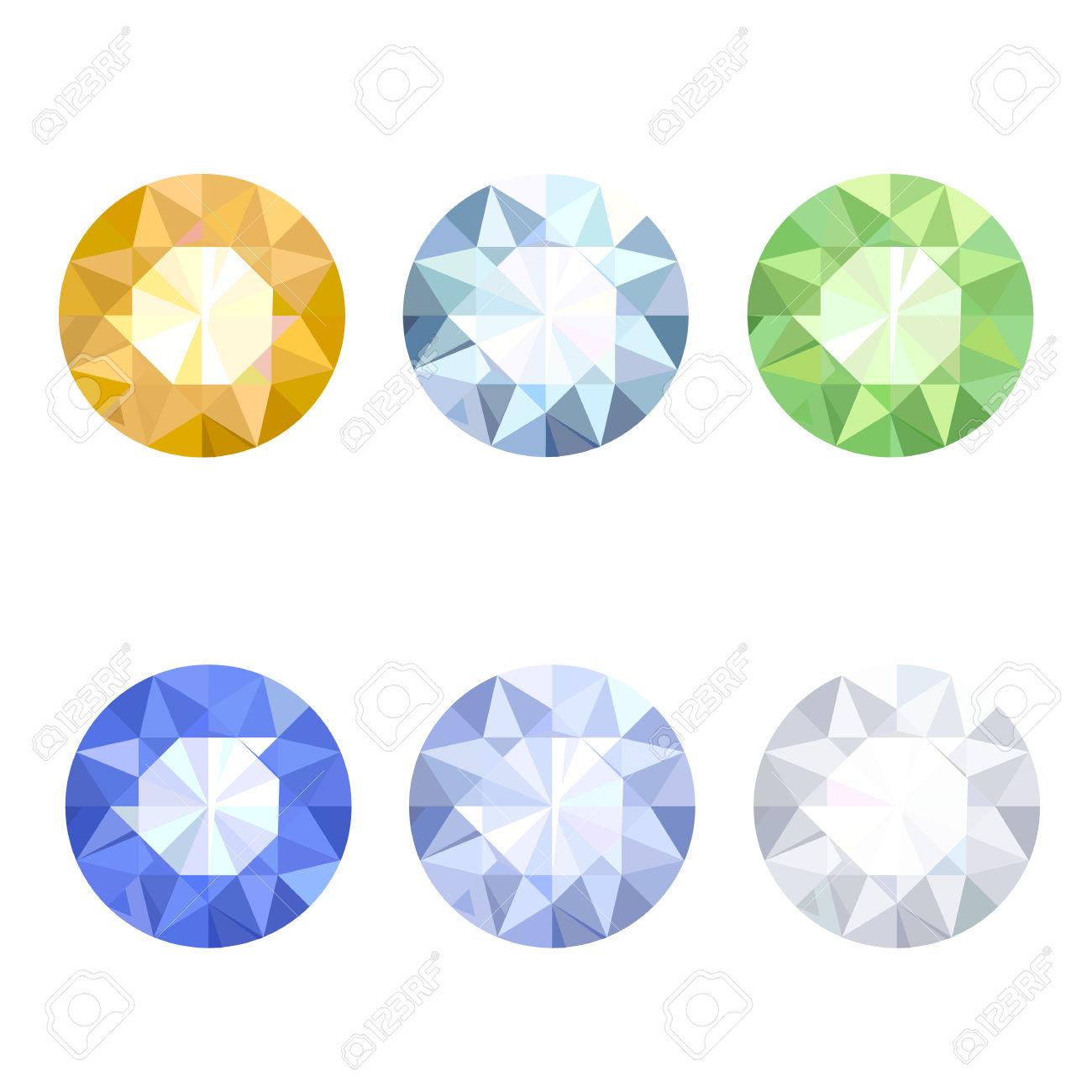 Set Di Sei Pietre Preziose: Diamanti, Topazio, Smeraldo, Zaffiro.