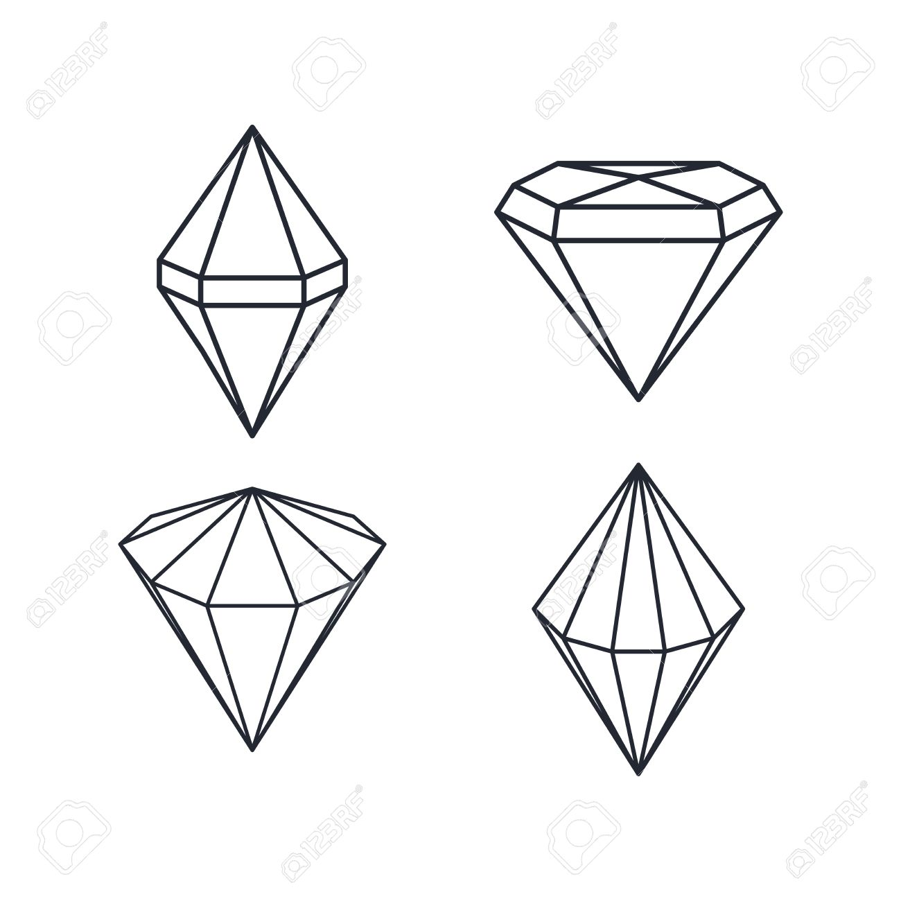 Preziosa Gemma Diamante Tema Illustrazione Vettoriale Arte Clipart.