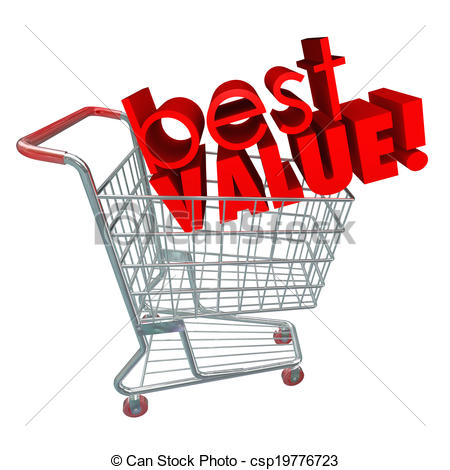 Clip Art of Best Value Words Shopping Cart Review Sale Discount.