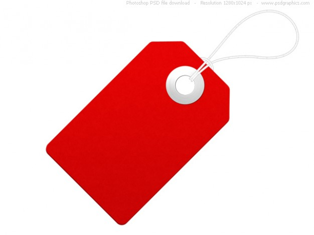 Blank paper label, red price tag PSD file.