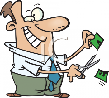 Cartoon of a Man Cutting Prices.