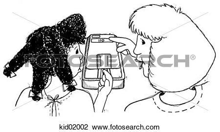 Clip Art of Illustration of girl having finger prick blood sugar.