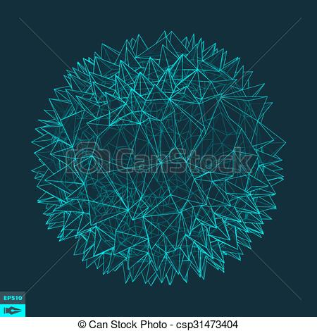 Vector Clipart of 3d Sphere With Prickles. Abstract Geometric.