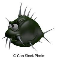Drawings of prickles fish.