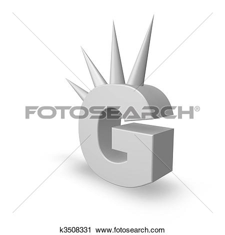 Clipart of letter g with prickles k3508331.