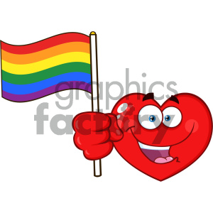 Happy Red Heart Cartoon Emoji Face Character Holding An Rainbow LGBT Pride  Flag Vector Illustration Isolated On White Background clipart. Royalty.