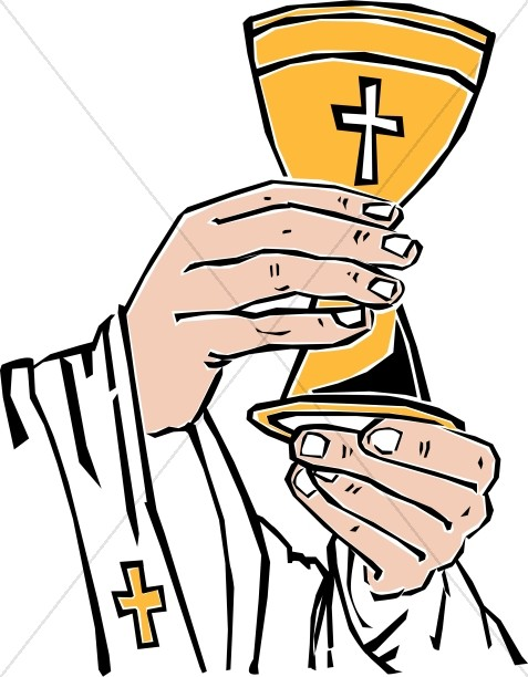 Cross Chalice Lifted By Priest.