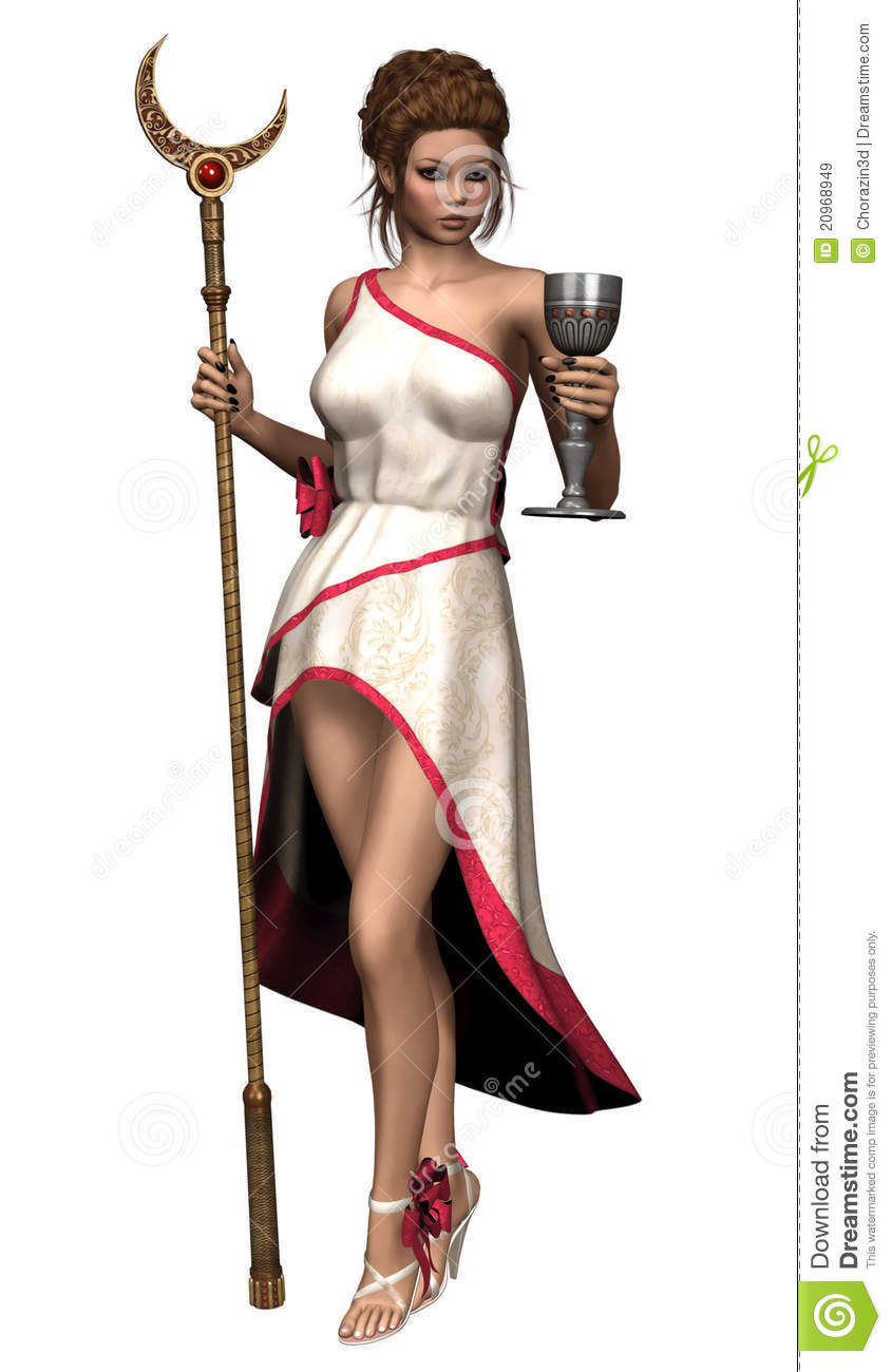 Fantasy Priestess With A Moon Staff Royalty Free Stock Images.