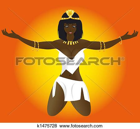 Clip Art of priestess of Egypt k1475728.