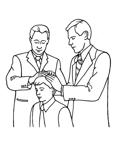 An illustration of a young man receiving the Melchizedek.