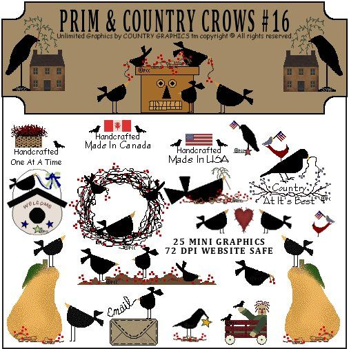 Prim Country Crows Graphic Clip Art Set.