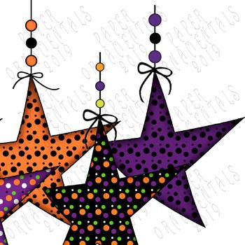 Clip Art or Clipart: Halloween Polka Dot Hanging Prim Stars.