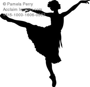 Clip Art Image of a Prima Ballerina in Silhouette.