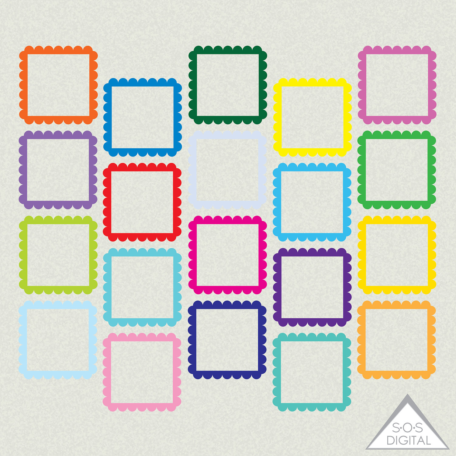 Bright Digital Frames, Square Frame, Clipart Frames, Primary Color.