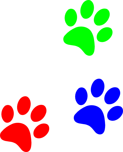 Primary Colors Paw Prints Clip Art at Clker.com.