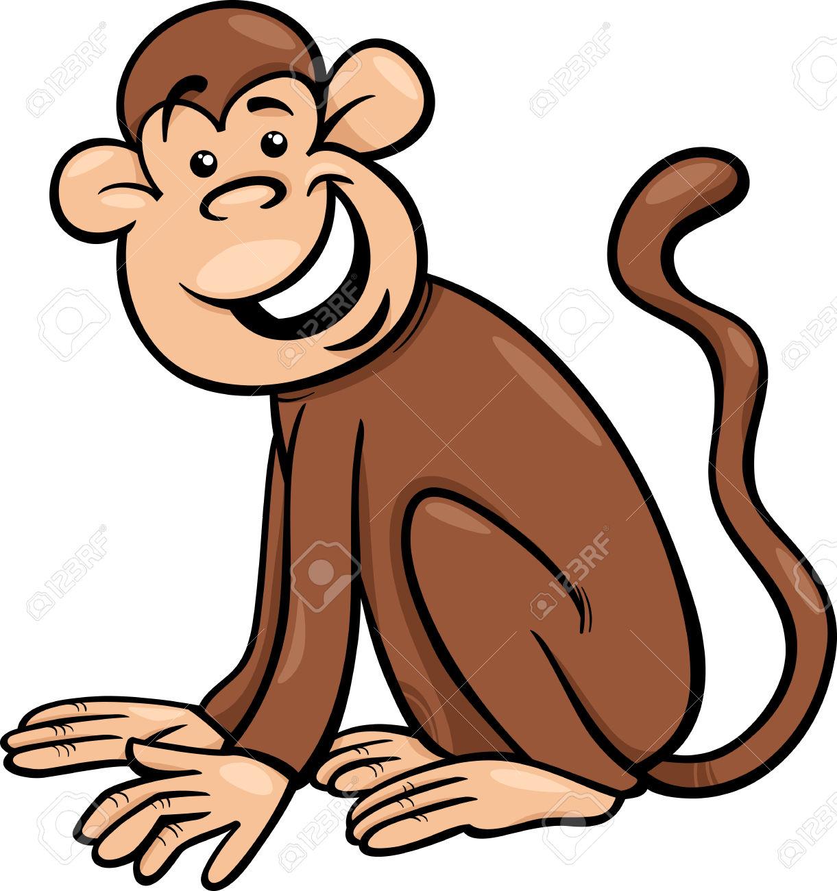 Cartoon Illustration Of Funny Monkey Primate Animal Royalty Free.
