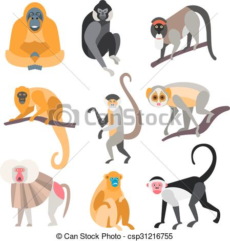 Clipart Vector of Set of Primates and Monkeys. Vector Illustration.