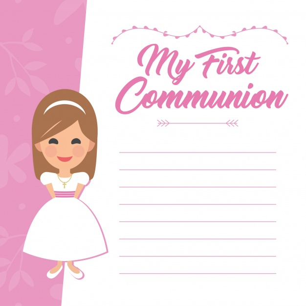 Girl first comunion template Vector.