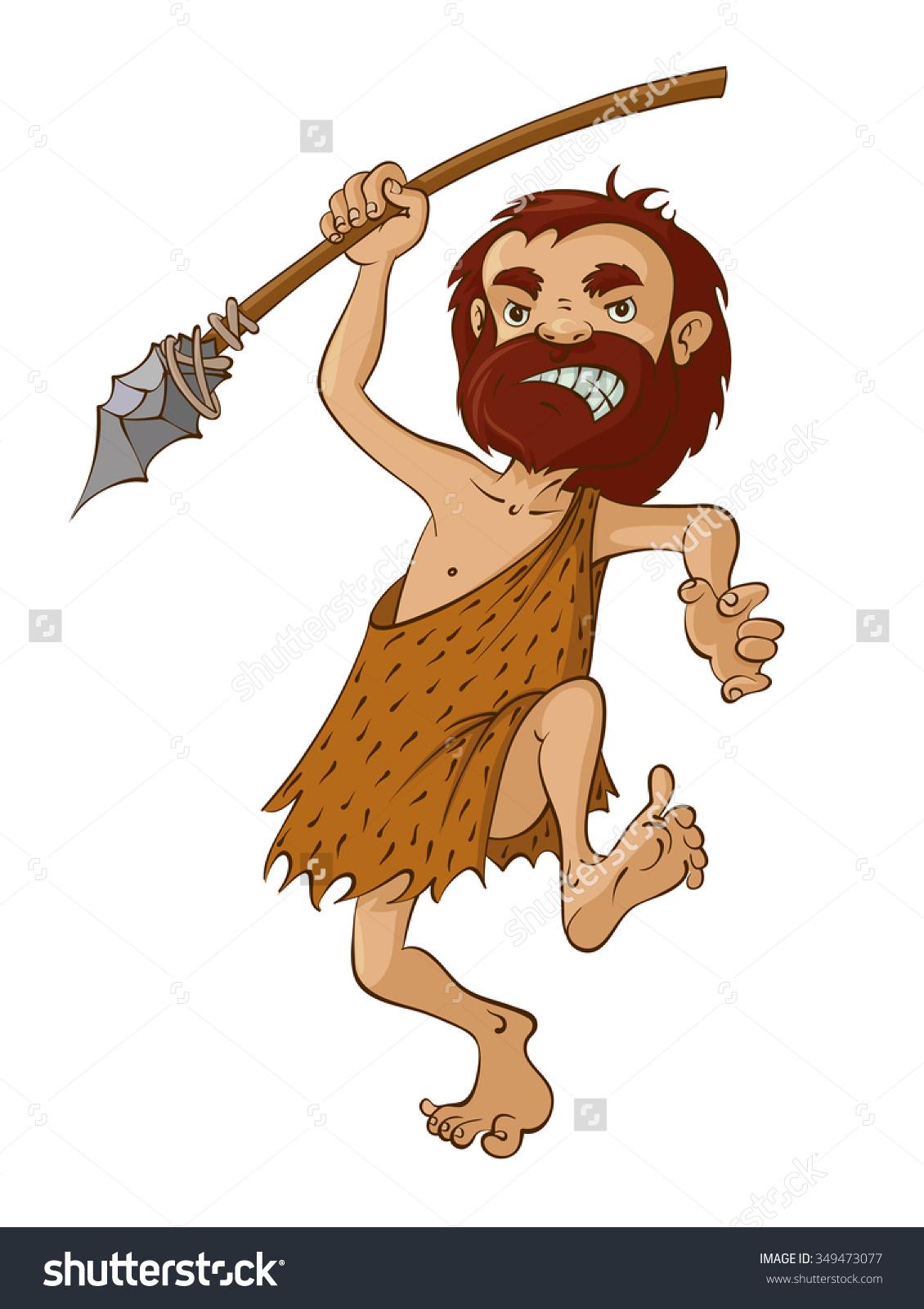 Cartoon Caveman Spear Vector Illustration Stock Vector 349473077.