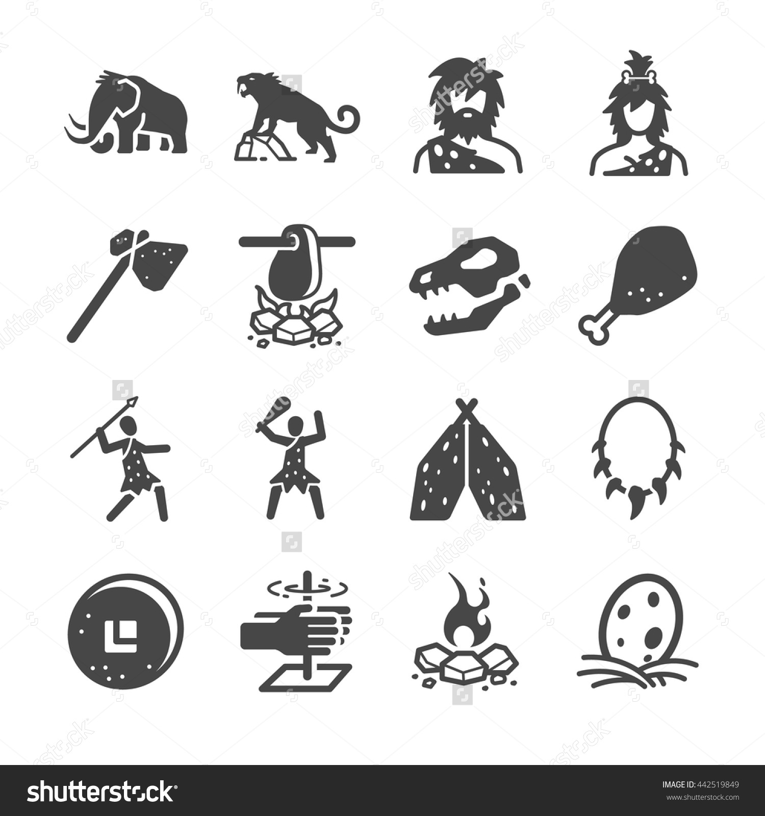 Primeval Ancient Prehistoric Caveman Man Stock Vector Illustration.