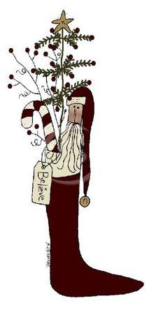 Primitive christmas clip art.